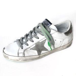 Golden Goose Superstar Lime Green Low Top Sneakers